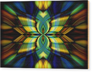 Stained Glass Wood Print by Cherie Duran