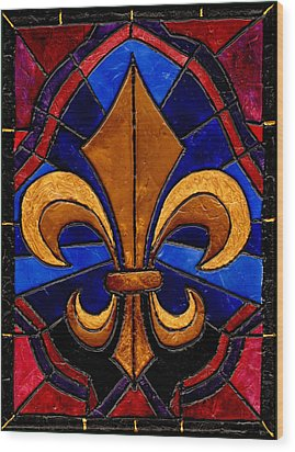Stained Glass Fleur De Lis Wood Print by Elaine Hodges