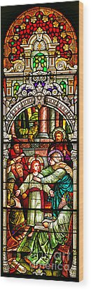 Wood Print featuring the photograph Stained Glass Scene 3 Crop by Adam Jewell