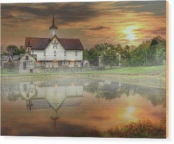 Wood Print featuring the mixed media Star Barn Sunrise by Lori Deiter