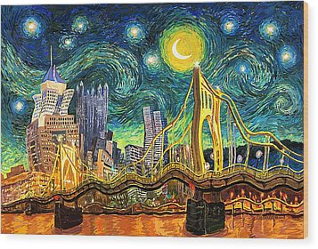 Starry Night In Pittsburgh Wood Print