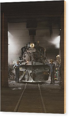 Steam Locomotive In The Roundhouse Of The Durango And Silverton Narrow Gauge Railroad In Durango Wood Print by Carol M Highsmith