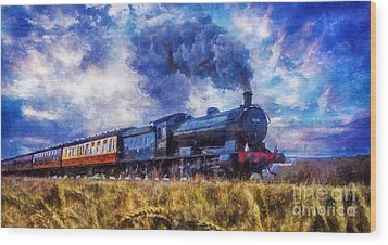 Wood Print featuring the digital art Steam Train by Ian Mitchell
