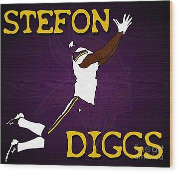 Stefon Diggs Wood Print by Kyle West