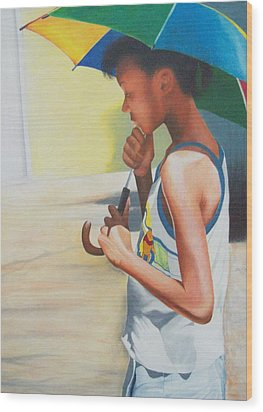 Stephanie With Umbrella Wood Print by Sylvester Hickmon