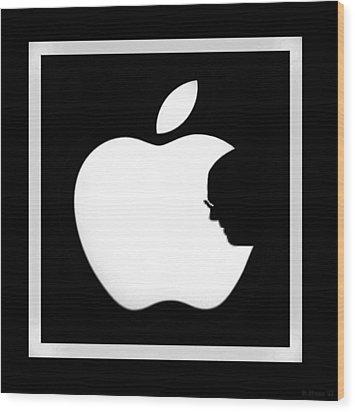 Steve Jobs Apple Wood Print