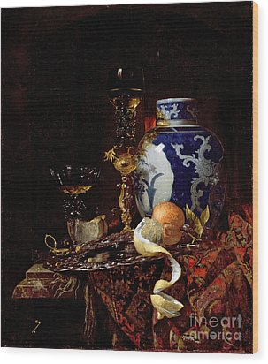 Still Life With A Chinese Porcelain Jar Wood Print by Willem Kalf