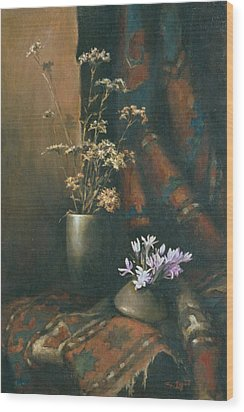 Wood Print featuring the painting Still-life With Snow Drops by Tigran Ghulyan