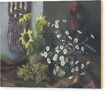 Wood Print featuring the painting Still-life With Sunflowers by Tigran Ghulyan