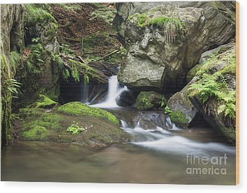 Wood Print featuring the photograph Stone Guardian Of The Waterfalls - Bizarre Boulder On The Bank by Michal Boubin