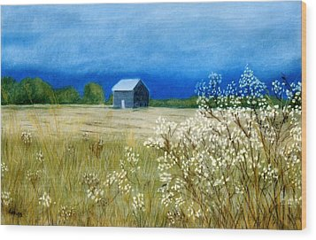 Wood Print featuring the pastel Stormy Afternoon by Jan Amiss