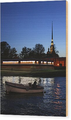 St.petersburg At Night Wood Print