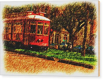Street Car Wood Print by Ronald Olivier