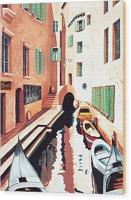 Streets Of Venice - Prints From Original Oil Painting Wood Print