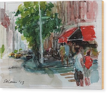 Streetscape With Red Awning - 82nd Street Market Wood Print by Peter Salwen