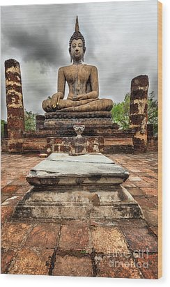 Wood Print featuring the photograph Sukhothai Historical Park by Adrian Evans