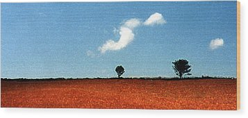 Summer Field With Two Trees 2 Ae2 Wood Print by Lyle Crump