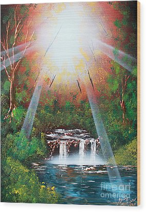 Wood Print featuring the painting Sunbeam Falls by Greg Moores