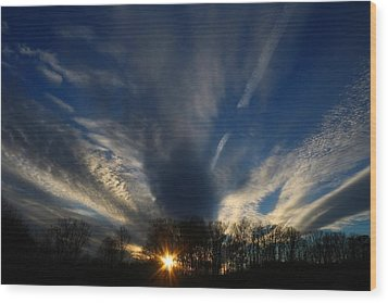 Sundown Skies Wood Print by Kathryn Meyer