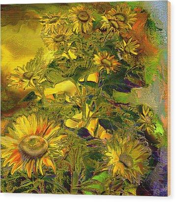 Sunflowers Wood Print by Anne Weirich