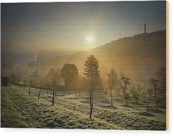 Sunrise From Petrin Yard In Prague, Czech Republic Wood Print