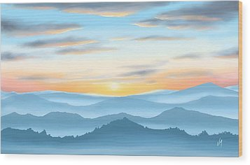 Wood Print featuring the painting Sunrise by Veronica Minozzi