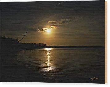 Sunset Wood Print by Angel Cher