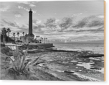 Wood Print featuring the photograph Sunset At Chipiona Lighthouse Cadiz Spain by Pablo Avanzini