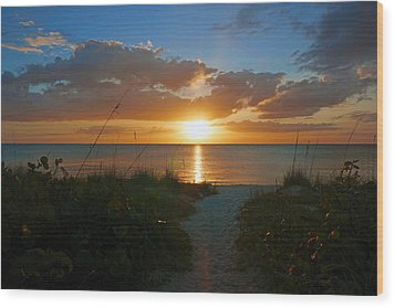 Sunset At Delnor Wiggins Pass State Park Wood Print by Robb Stan
