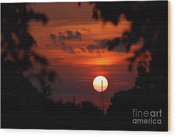 Sunset At Lake Hefner Wood Print