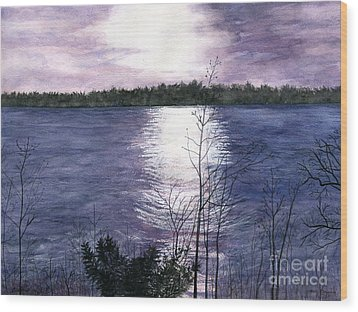 Wood Print featuring the painting Sunset At Niagara River New York by Melly Terpening
