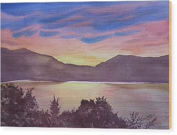 Wood Print featuring the painting Sunset At Woodhead Campground by Joel Deutsch