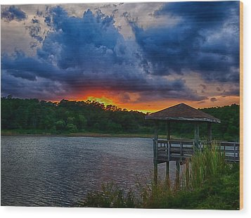 Wood Print featuring the photograph Sunset Huntington Beach State Park by Bill Barber
