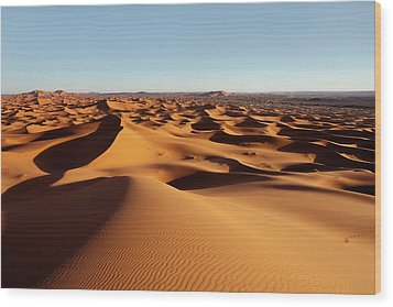 Sunset In Erg Chebbi Wood Print