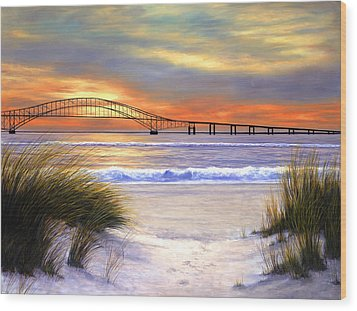 Sunset Over Robert Moses Wood Print