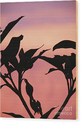 Sunset Silhouette Wood Print by Rose  Hill