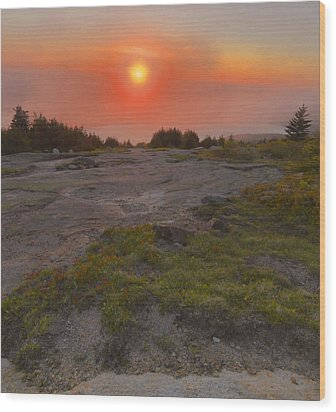 Wood Print featuring the photograph Sunset Through Fog by Stephen  Vecchiotti