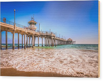 Surf City Pier Wood Print