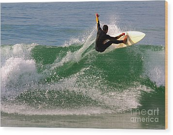 Surfer Wood Print by Carlos Caetano