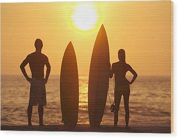 Surfer Silhouettes Wood Print by Larry Dale Gordon - Printscapes