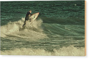 Surfing - Jersey Shore Wood Print by Angie Tirado