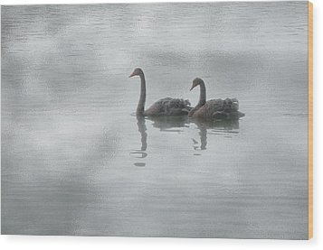 Swan Lake Wood Print by Carolyn Dalessandro