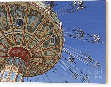 Swing Ride At The Fair Wood Print by Jeremy Woodhouse