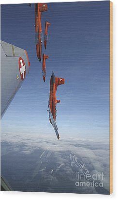 Swiss Air Force Display Team, Pc-7 Wood Print by Daniel Karlsson