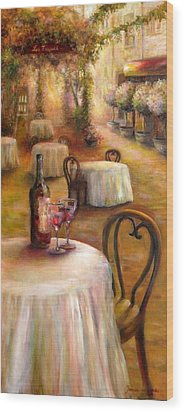 Table For Two Wood Print by Bonnie Goedecke