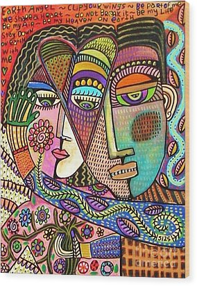 Talavera Garden Angel Lovers Wood Print by Sandra Silberzweig