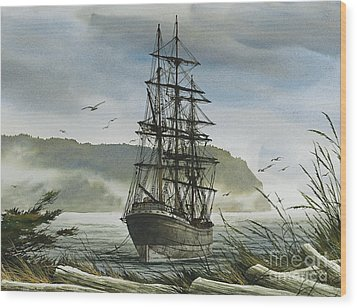 Wood Print featuring the painting Tall Ship Cove by James Williamson