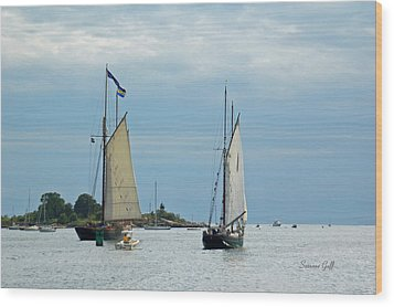 Tall Ships Sailing I Wood Print by Suzanne Gaff