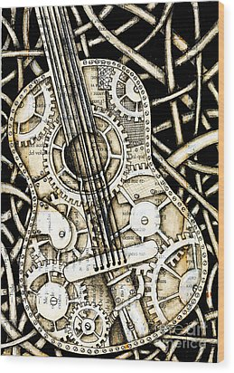 Tangle Guitar Wood Print by Delein Padilla