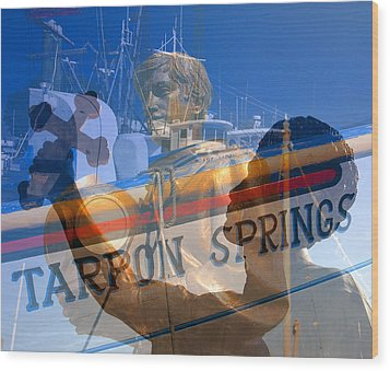 Wood Print featuring the photograph Tarpon Springs Florida Mash Up by David Lee Thompson